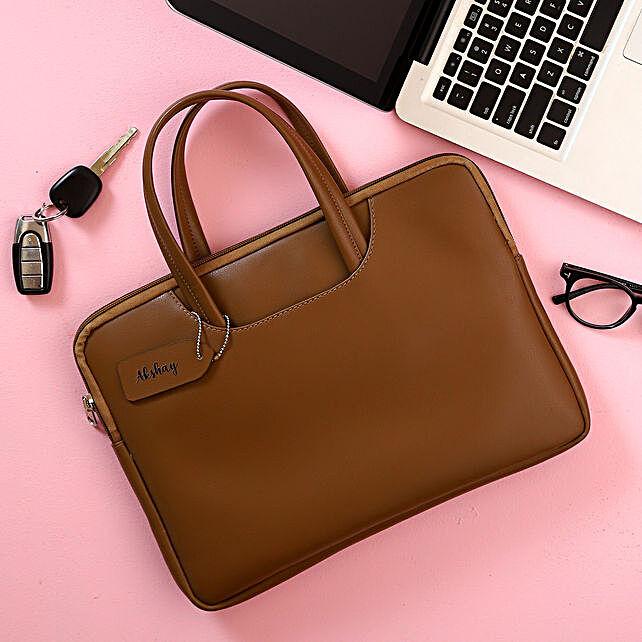 Personalised Brown Laptop Bag