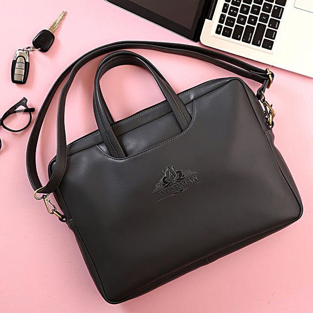 Personalised Grey Laptop Bag