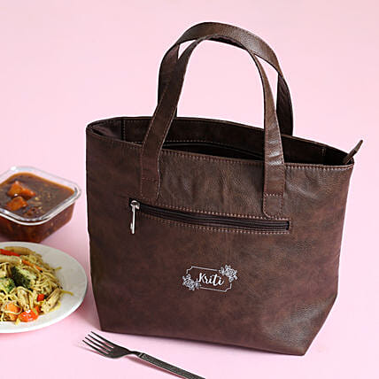 Personalised Leather Brown Lunch Box