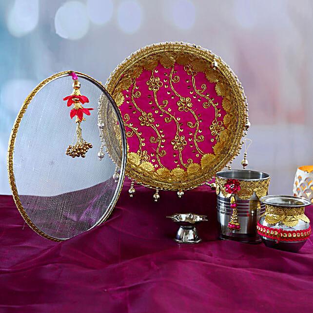 Pink Gota Work Thali Set:Karwa Chauth Gifts to Gurgaon