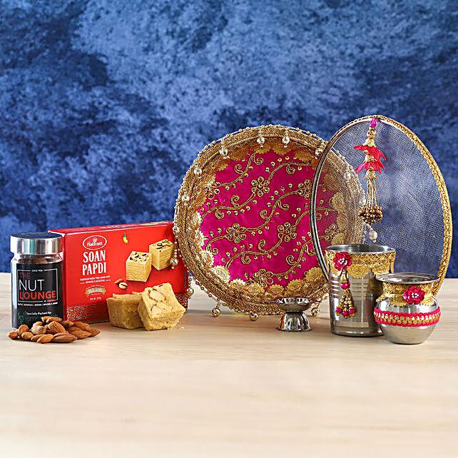 Pink Gota Work Thali Set With Soan Papdi and Almonds:Karwa Chauth Gifts to Gurgaon