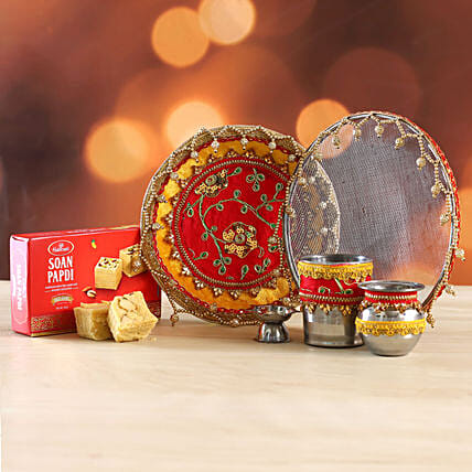 Red and Yellow Beads Thali Set With Soan Papdi:Karwa Chauth All Gifts