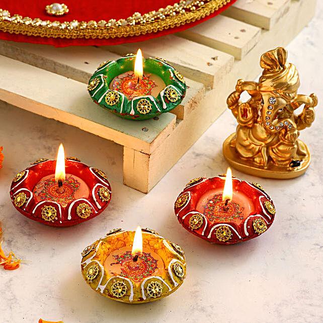 4 Designer Diyas & Golden Pagdi Ganesha Idol:Buy Diwali Diyas