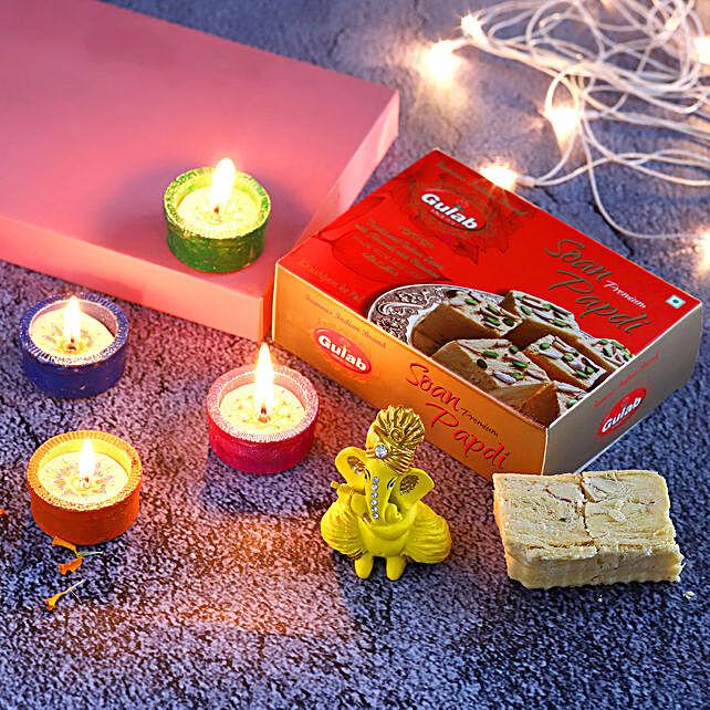 4 Tealight Diyas & Ganesha Idol With Soan Papdi