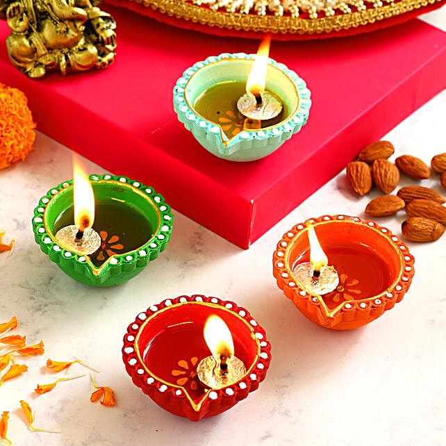 Happy Diwali Set Of 4 Colourful Diyas:Diwali Gifts for Him
