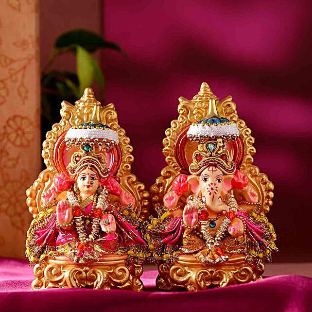 Auspicious Lakshmi Ganesha Idol Set:Diwali Idols