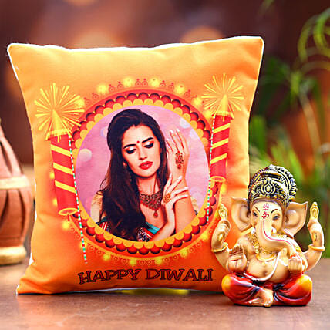 Diwali Personalised Cushion and Beautiful Ganesha Idol:Send Personalised Gifts for Diwali