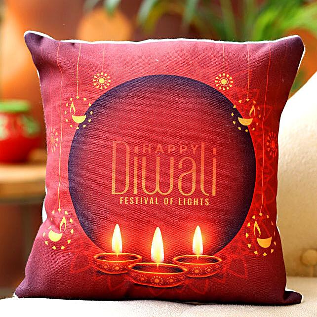 Happy Diwali Printed Best Cushion:Send Diwali Gifts for Him
