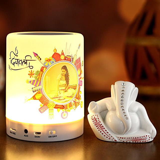 Personalised Diwali LED Speaker and Ganesha Idol