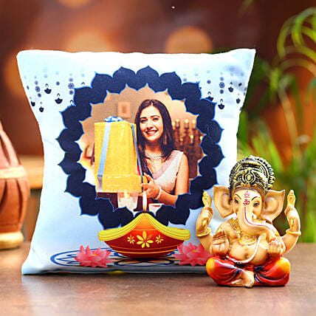 Personalised Diwali Special Cushion and Ganesha Idol