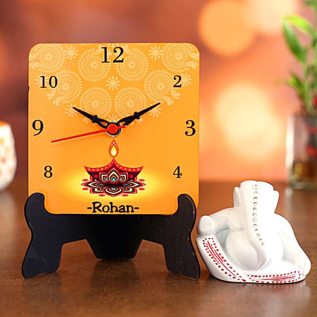 Personalised Diwali Table Clock and Ganesha Idol