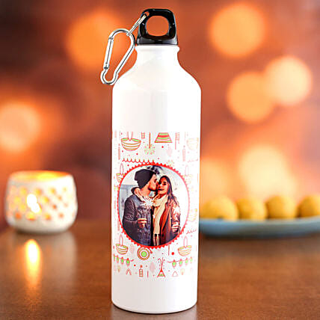 Personalised Diwali Theme Water Bottle:Send Personalised Gifts for Diwali