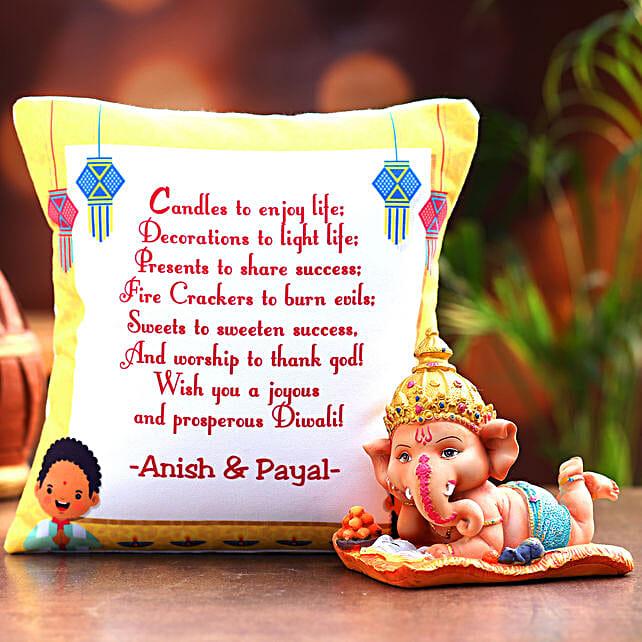 Personalised Happy Diwali Cushion and Ganesha Idol