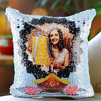 Personalised Happy Diwali Sequin Cushion:Personalized Diwali Gifts