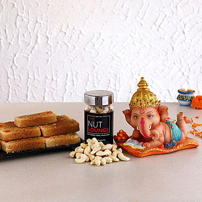 Bal Ganesha Idol N Milk Cake With Cashew Jar