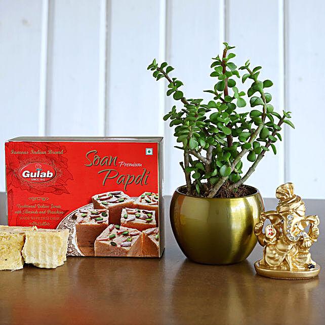 Ganesha Idol N Jade Plant With Soan Papdi