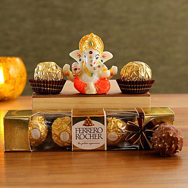 Colourful Ganesha Idol N Luxury Chocolates:Diwali Chocolates