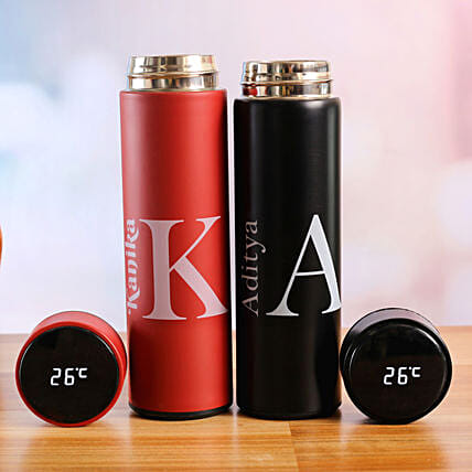 Red and Black Personalised LED Temperature Bottles