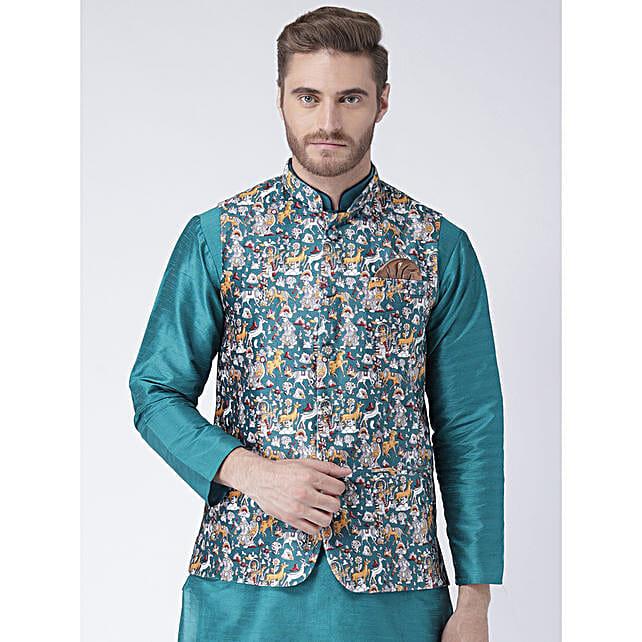 Ethnic Multicoloured Printed Nehru Jacket
