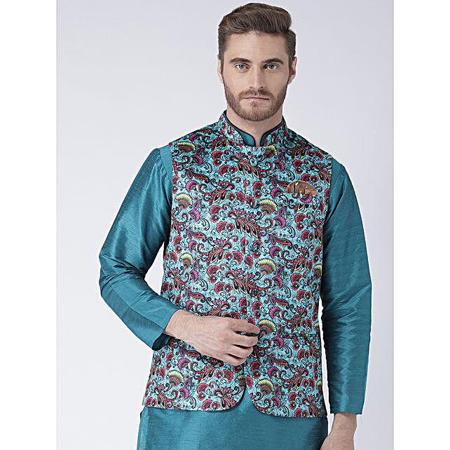 Men Multicoloured Regular Fit Nehru Jacket:Apparel Gifts