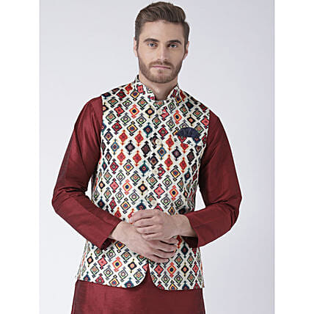 Multicoloured Geometric Print Waistcoat