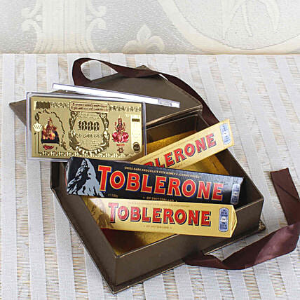 Assorted Toblerone Bars & Gold Plated Currency Note Combo:Gold Plated Gifts