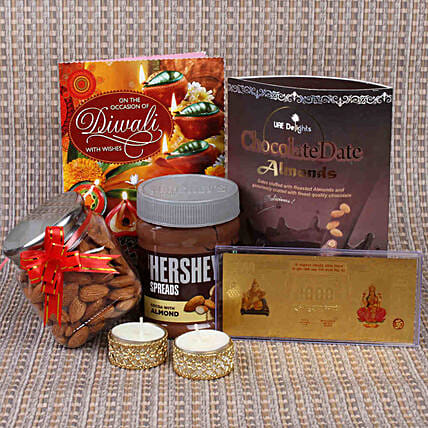Blissful Diwali Chocolates & Almonds Hamper:Gold Plated Gifts