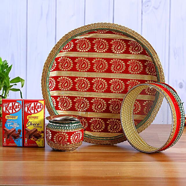 Designer Fabric Work Karwa Chauth Thali Set & Kitkat
