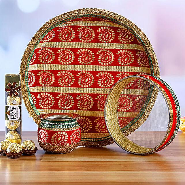 Karwa Chauth Elegant Thali Set & Ferrero Rocher