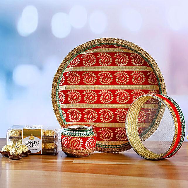 Traditional Karwa Chauth Thali Set & Ferrero Rocher