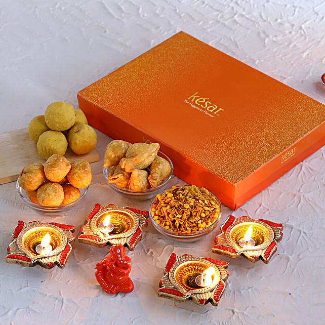 Ganesha Idol N Swastik Diyas With Assorted Delights:Diwali Combos