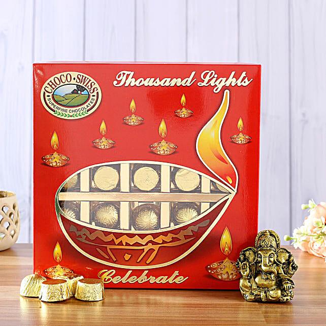 Antique Ganesha Idol & Choco Swiss Diwali Pack