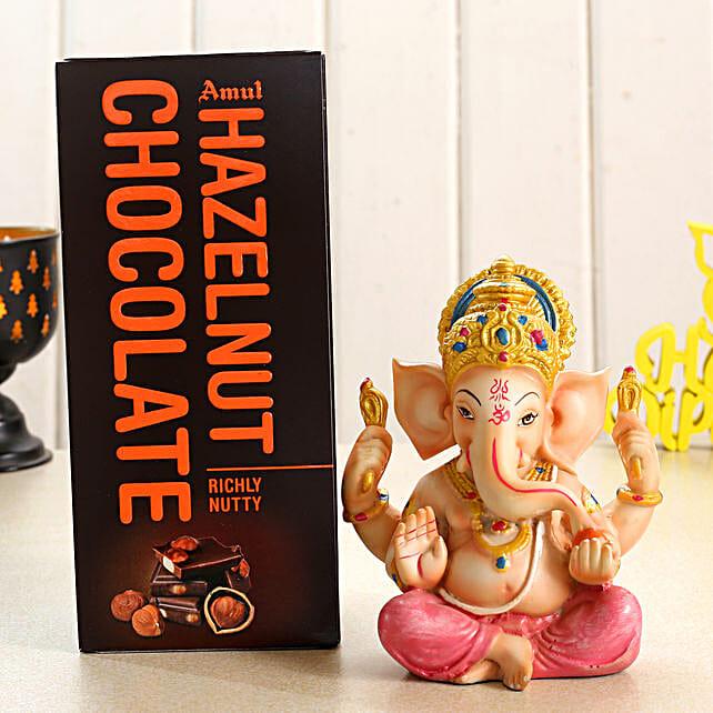 Beautiful Ganesha Idol and Amul Chocolate