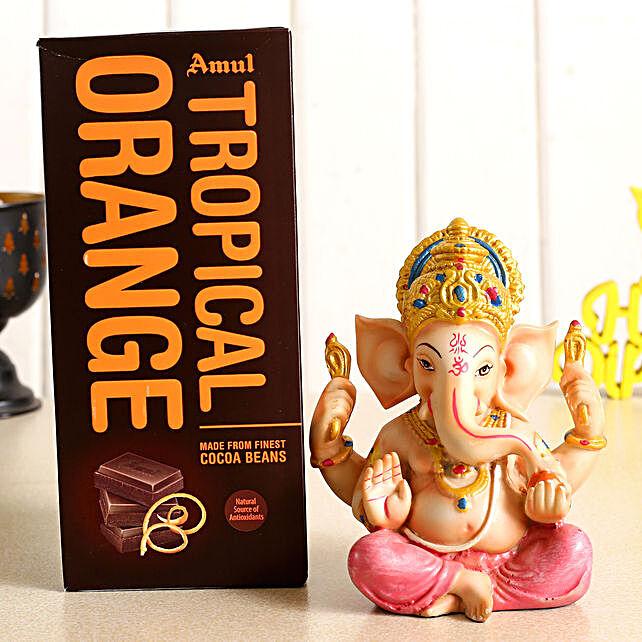 Festive Ganesha Idol and Amul Chocolate