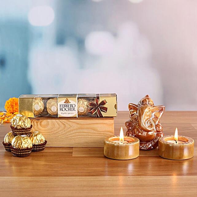 Lord Ganesha Idol & Candles With Chocolates