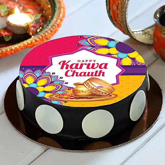 Karwa Chauth Chocolate Photo Cake:Gift For Wife On Karva Chauth