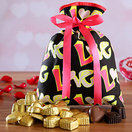 online chocolate in potli for vday:Handmade Chocolate Box