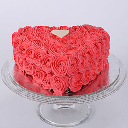 Hot Red Heart Cake 1kg:Anniversary Heart Shaped Cakes