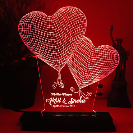 Valentine Hearts Personalised LED Lamp