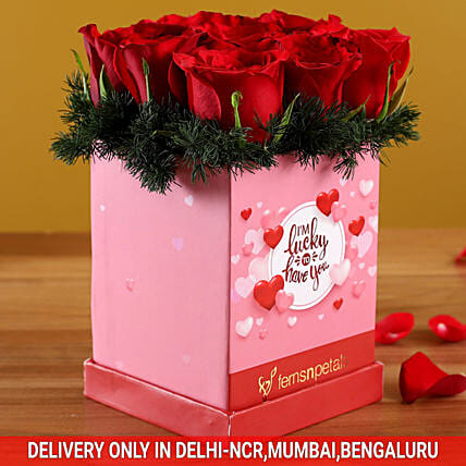 Valentine Roses In Pink Love Box