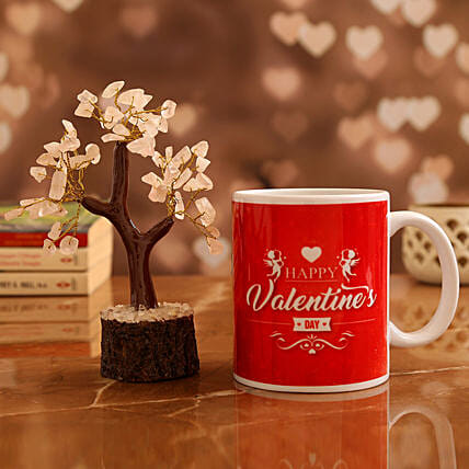 Valentine's Mug and  Rose Quartz Wish Tree:Personalised Gifts Combo for Valentine's Day