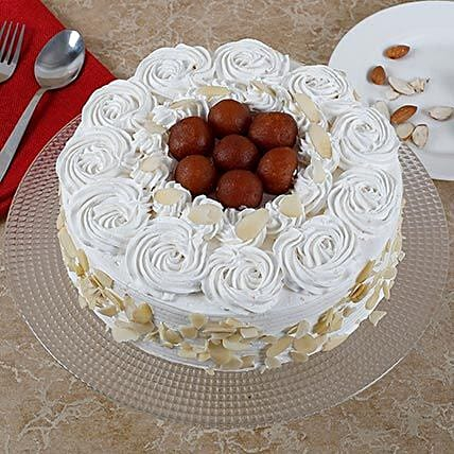 Vanilla Fusion Gulab Jamun Cake