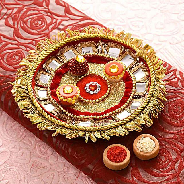 Velvety Red Bhaidooj Pooja Thali:Pooja Thali