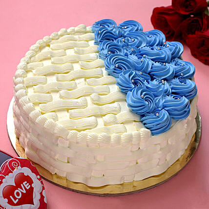 Vibrant Blue & White Butterscotch Cake:Mother's Day Designer Cakes
