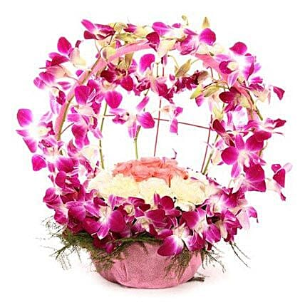 Vibrant Orchid Celebration - Bouquet of 12 Purple Orchids, 10  Carnations and 6 Pink Roses.:Unique Gifts for Mothers Day