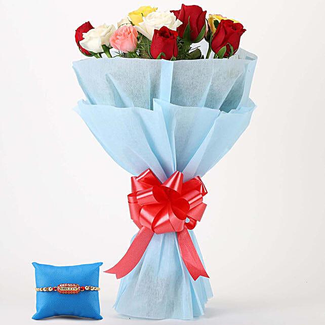 Online Vibrant Roses Bunch & Capsule Rakhi:Send Rakhi With Flowers