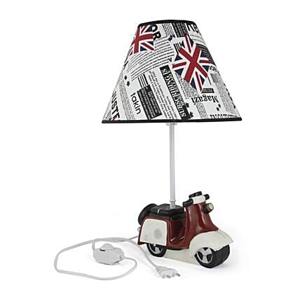 Vintage Scooter Shaped Table Office Home Desktop Resin Lamp Beside