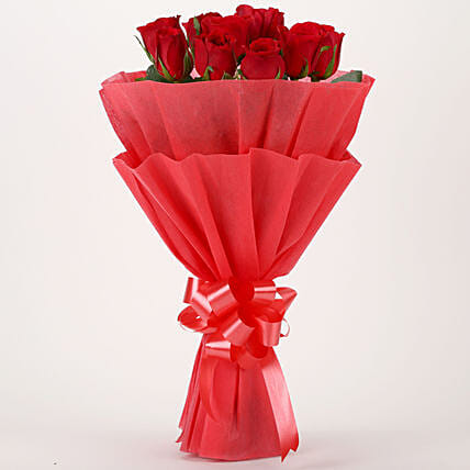 Vivid - Bunch of 10 Red Roses Flowers Gifts.:Send Valentine Flowers to Gandhinagar