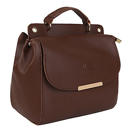 Vivinkaa Leatherette Flap Compartment Sling Coffee