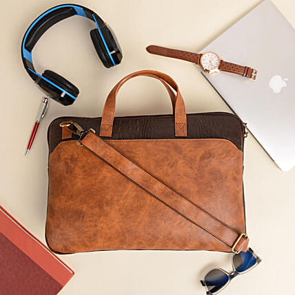 Vivinkaa Tan And Brown Laptop Bag For Men And Women:Handbags and Wallets